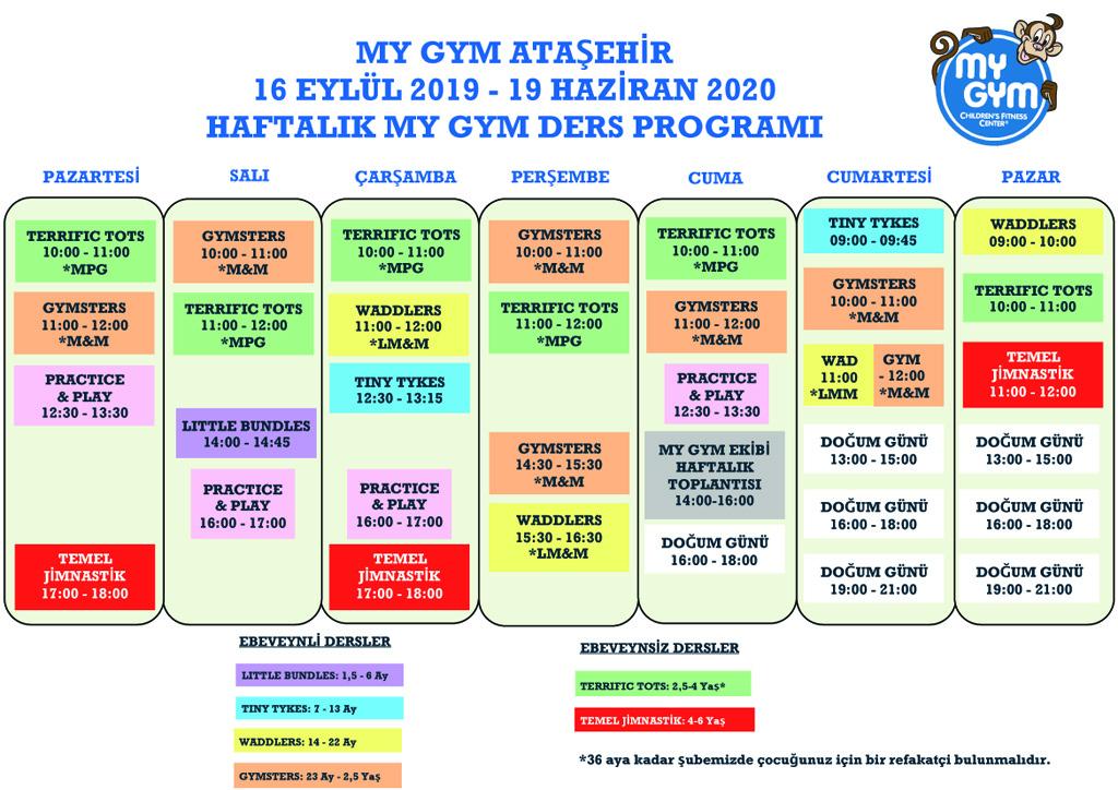 MY GYM Dersleri Programý 2019-20