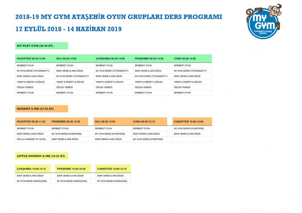My Gym Ataşehir Oyun Grupları Programı