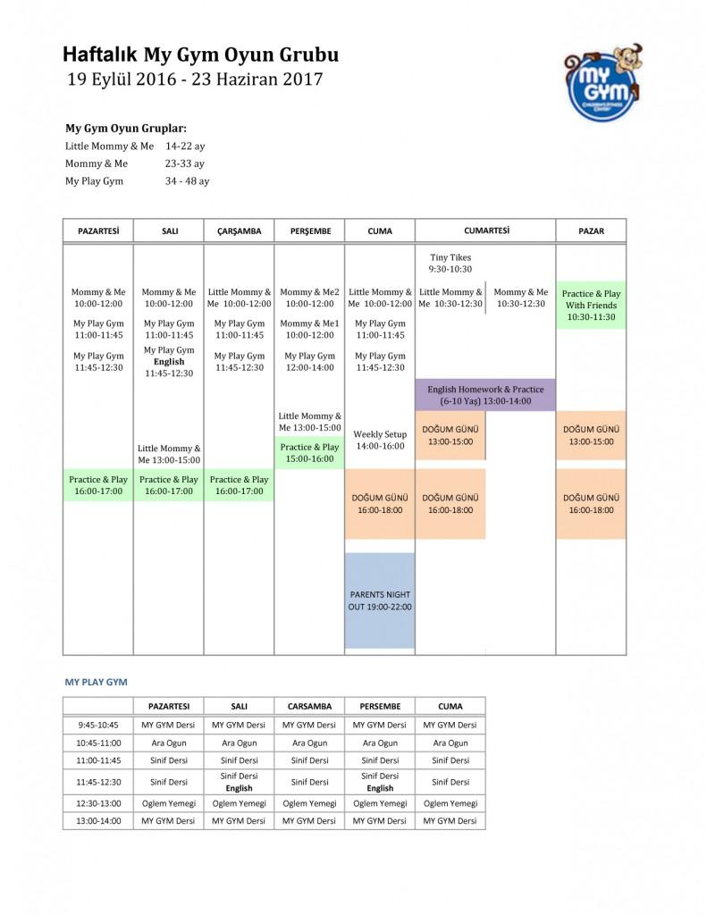 My Gym Bahçeşehir 2017 Oyun Grubu Ders Programını Pdf olarak indirmek için lütfen fotoğrafı tıklayınız!